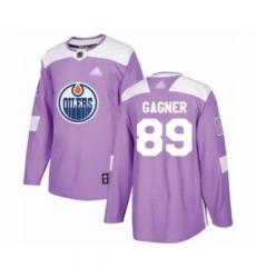 Men's Edmonton Oilers #89 Sam Gagner Authentic Purple Fights Cancer Practice Hockey Jersey