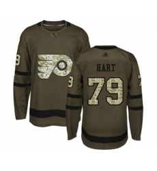 Men's Philadelphia Flyers #79 Carter Hart Authentic Green Salute to Service Hockey Jersey