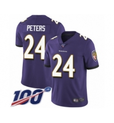 Men's Baltimore Ravens #24 Marcus Peters Purple Team Color Vapor Untouchable Limited Player 100th Season Football Jersey