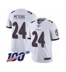 Men's Baltimore Ravens #24 Marcus Peters White Vapor Untouchable Limited Player 100th Season Football Jersey
