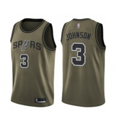 Men's San Antonio Spurs #3 Keldon Johnson Swingman Green Salute to Service Basketball Jersey