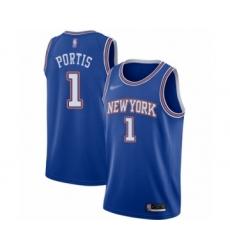 Men's New York Knicks #1 Bobby Portis Authentic Blue Basketball Jersey - Statement Edition