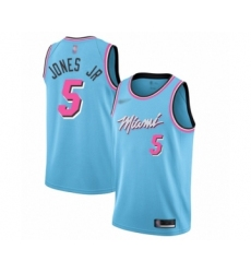 Men's Miami Heat #5 Derrick Jones Jr Swingman Blue Basketball Jersey - 2019-20 City Edition