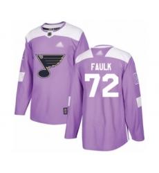 Men's St. Louis Blues #72 Justin Faulk Authentic Purple Fights Cancer Practice Hockey Jersey