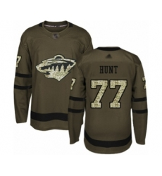 Men's Minnesota Wild #77 Brad Hunt Authentic Green Salute to Service Hockey Jersey