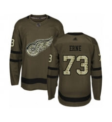 Men's Detroit Red Wings #73 Adam Erne Authentic Green Salute to Service Hockey Jersey
