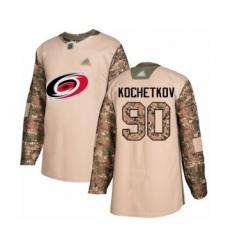 Men's Carolina Hurricanes #90 Pyotr Kochetkov Authentic Camo Veterans Day Practice Hockey Jersey