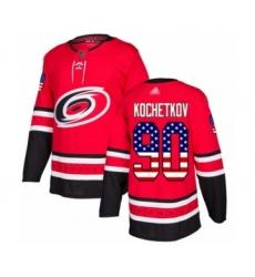 Men's Carolina Hurricanes #90 Pyotr Kochetkov Authentic Red USA Flag Fashion Hockey Jersey