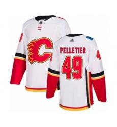 Men's Calgary Flames #49 Jakob Pelletier Authentic White Away Hockey Jersey