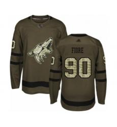 Men's Arizona Coyotes #90 Giovanni Fiore Authentic Green Salute to Service Hockey Jersey