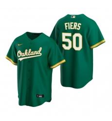 Men's Nike Oakland Athletics #50 Mike Fiers Green Alternate Stitched Baseball Jersey