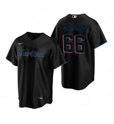 Men's Nike Miami Marlins #66 Jarlin Garcia Black Alternate Stitched Baseball Jersey