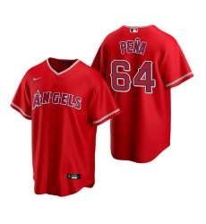 Men's Nike Los Angeles Angels #64 Felix Pena Red Alternate Stitched Baseball Jersey