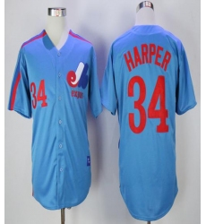 Mitchell And Ness Montreal Expos #34 Bryce Harper Blue Throwback Stitched MLB Jersey