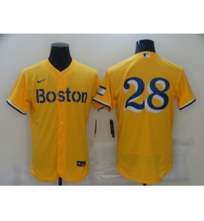 Men's Boston Red Sox #28 J.D. Martinez Nike Gold-Light Blue 2021 City Connect Jersey