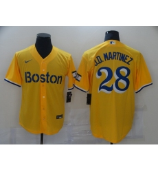 Men's Boston Red Sox #28 J.D. Martinez Nike Gold-Light Blue 2021 City Connect Replica Jersey