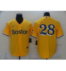Men's Boston Red Sox #28 J.D. Martinez Nike Gold-Light Blue 2021 City Connect Replica Player Jersey