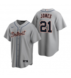 Men's Nike Detroit Tigers #21 JaCoby Jones Gray Road Stitched Baseball Jersey