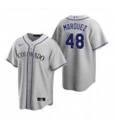 Men's Nike Colorado Rockies #48 German Marquez Gray Road Stitched Baseball Jersey
