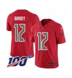 Men's Tampa Bay Buccaneers #12 Tom Brady Limited Red Rush Vapor Untouchable 100th Season Football Jersey
