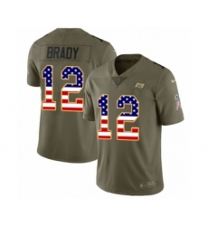 Men's Tampa Bay Buccaneers #12 Tom Brady Olive USA Flag Limited 2017 Salute To Service Jersey