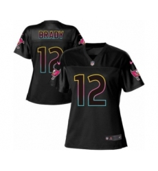 Women's Tampa Bay Buccaneers #12 Tom Brady Game Black Fashion Football Jersey