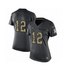 Women's Tampa Bay Buccaneers #12 Tom Brady Limited Black 2016 Salute to Service Football Jersey