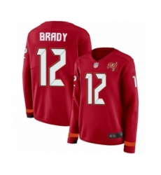 Women's Tampa Bay Buccaneers #12 Tom Brady Limited Red Therma Long Sleeve Football Jersey