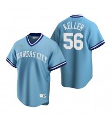 Men's Nike Kansas City Royals #56 Brad Keller Light Blue Cooperstown Collection Road Stitched Baseball Jersey