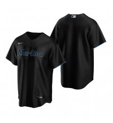 Men's Nike Miami Marlins #22 Sandy Alcantara Black Alternate Stitched Baseball Jersey