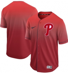 Men's Nike Philadelphia Phillies Blank Red Fade Authentic Stitched Baseball Jersey