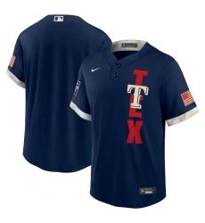 Men's Texas Rangers Blank Nike Navy 2021 MLB All-Star Game Replica Jersey