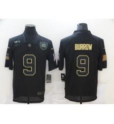 Men's Cincinnati Bengals #9 Joe Burrow Black Nike 2020 Salute To Service Limited Jersey