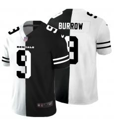 Men's Cincinnati Bengals #9 Joe Burrow Black White Limited Split Fashion Football Jersey