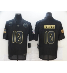 Men's Los Angeles Chargers #10 Justin Herbert Black Nike 2020 Salute To Service Limited Jersey