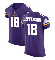Men's Minnesota Vikings #18 Justin Jefferson Purple Team Color Stitched NFL Vapor Untouchable Elite Jersey