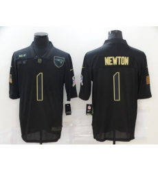Men's New England Patriots #1 Cam Newton Black Nike 2020 Salute To Service Limited Jersey