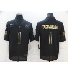Men's Miami Dolphins #1 Tua Tagovailoa Black Nike 2020 Salute To Service Limited Jersey