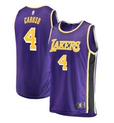Men's Los Angeles Lakers #4 Alex Caruso Fanatics Branded Purple 2020-21 Fast Break Replica Jersey