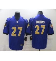 Men's Baltimore Ravens #27 J.K. Dobbins Nike Purple Gold Limited Jersey