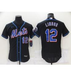 Men's Nike New York Mets #12 Francisco Lindor Black Elite Jersey