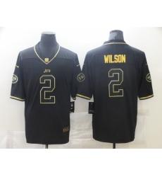 Men's New York Jets #2 Zach Wilson Nike Black Gold Draft First Round Pick Leopard Jersey