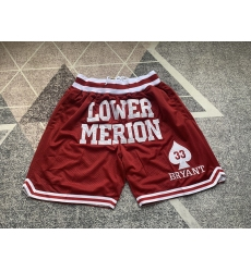 Men's Los Angeles Lakers Kobe high school edition red pocket Shorts