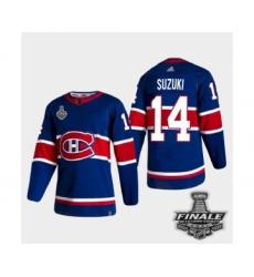 Men's Adidas Canadiens #14 Nick Suzuki Blue Road Authentic 2021 Stanley Cup Jersey