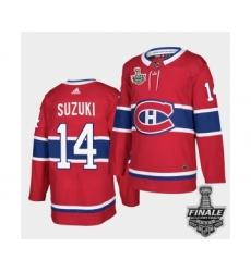 Men's Adidas Canadiens #14 Nick Suzuki Red Road Authentic 2021 Stanley Cup Jersey