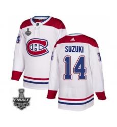 Men's Adidas Canadiens #14 Nick Suzuki White Road Authentic 2021 Stanley Cup Jersey