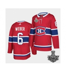 Men's Adidas Canadiens #6 Shea Weber Red Road Authentic 2021 Stanley Cup Jersey