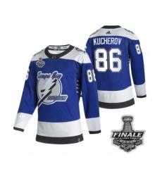 Men's Adidas Lightning #86 Nikita Kucherov Blue Home Authentic 2021 Stanley Cup Jersey