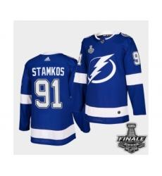Men's Adidas Lightning #91 Steven Stamkos Blue Authentic 2021 Stanley Cup Jersey