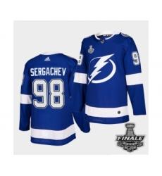 Men's Adidas Lightning #98 Mikhail Sergachev Blue Home Authentic 2021 Stanley Cup Jersey